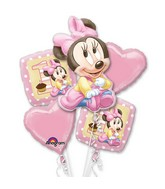 Minnie 1st Birthday Girl 5 Balloon Bouquet
