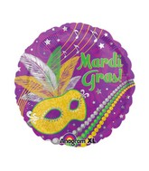 "18"" Festive Mardi Gras Balloon Packaged"