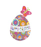 "30"" SuperShape Happy Easter Butterfly Egg Balloon"