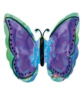 "25"" SuperShape Painted Purple Butterfly Balloon"