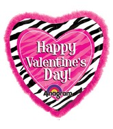 "32"" SuperShape Doo-Dads Zebra Valentine's Day Balloon"