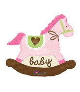 "29"" Baby Pink Rocking Horse Balloon"