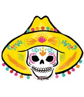 "29"" SuperShape Sombrero Skull Balloon Packaged"