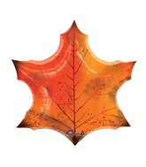 "25"" SuperShape Orange Maple Leaf Balloon"