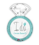 "27"" Wedding Ring Shape I Do Blue Balloon"