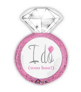 "27"" Wedding Ring Shape I Do Pink Balloon"