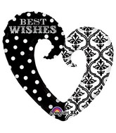 "32"" Damask & Dots Best Wishes SuperShape"