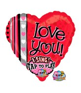 "29"" Love You Dots & Stripes Jumbo Sing-A-Tune"