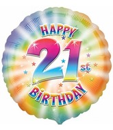 "18"" Happy 21st Birthday Mylar Balloon"