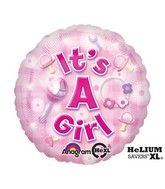 "18"" New Baby Girl Mylar Balloon"