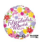 "18"" Felicidades Mamá Flowers Balloon Packaged"