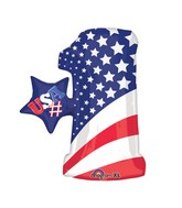 "28"" SuperShape Patriotic Number One Balloon Packaged"