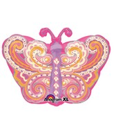 Junior Shape Paisley Pink Butterfly Balloon