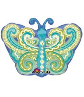 "18"" Junior Shape Paisley Teal Butterfly Balloon"