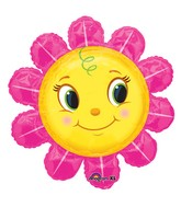 "29"" SuperShape Smiley Pink Flower Balloon Packaged"