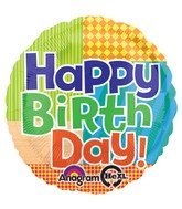 "18"" Bold Pattern Bday Mylar Balloon"