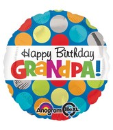 "18"" Polka Grandpa Bday Balloon Packaged"