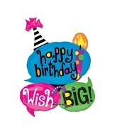 "26"" Wish Big Birthday Mylar Balloon"