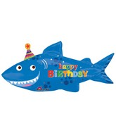 "39"" SuperShape Happy Shark Birthday Balloon Packaged"