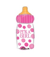 "23"" It`s A Girl Baby Bottle Mylar Balloon"