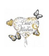 "30"" Best Wishes Heart Cluster Mylar Balloon"