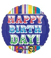 "18"" Happy Birthday Primary Mylar Balloon"