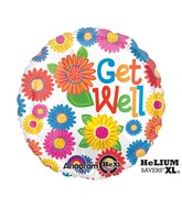 "18"" Primary Get Well Mylar Balloon"