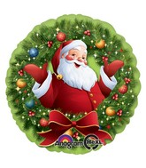"18"" Jolly Santa in Wreath Balloon"
