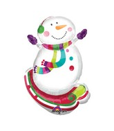Airfill Only Mini Shape Joyful Snowman Balloon