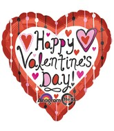 "18"" Happy Valentines Day Dotted Lines Balloon Packaged"