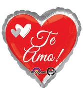 "28"" Te Amo Red & Silver Jumbo Balloon"