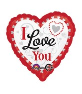 "28"" Love You Silver Hearts Jumbo Balloon"