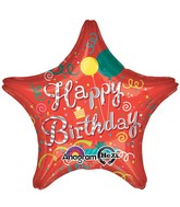 "28"" Happy Birthday Steamers Star Jumbo  Mylar Balloon"