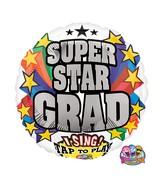 "28"" Singing Balloons Super Star Grad"