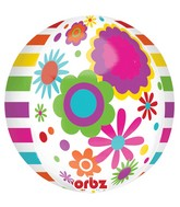 "16"" Flowers and Stripes Orbz Balloons"