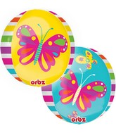 "16"" Spring Butterfly Orbz Balloons"