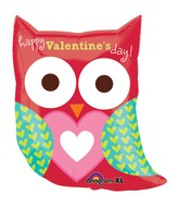 "27"" Happy Valentine&#39s Day Owl Balloon Packaged"
