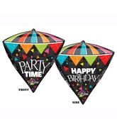 "17"" x 15"" Diamondz 3D Cone HBD Party Time Black"