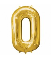 "35"" SuperShape 0 Gold Balloon Packaged"
