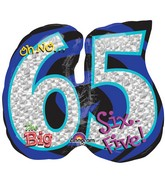 "27"" Holographic Oh NO! It's My Birthday 65 Balloon Packaged"