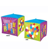 "15"" x 15"" Cubez Happy Birthday Balloons Cube"