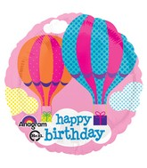 "18"" HBD Hot Air Balloons Mylar Balloon"
