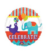 "21"" Purple Seal & Blue Elephant Celebrate! Mylar Balloon"
