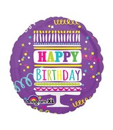 "21"" HBD Layered Cake & Streamers Mylar Balloon"