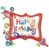 "34"" HBD Splashy Sparkle Frame Mylar Balloon"