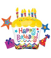 "28"" Happy Birthday Cupcake Star Mylar Balloon"