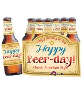 "25"" Happy Beer-day Six Pack Mylar Balloon"