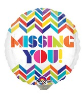 "9"" Airfill Only Multi Chevron Missing You! Balloon"