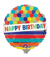 "4"" Airfill Balloon HBD Dots & Stripes on Silver"