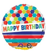 "28"" HBD Dots & Stripes on Silver Jumbo  Mylar Balloon"